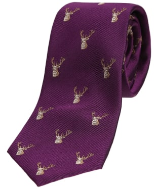 Men's Soprano Stag Heads Tie - Purple