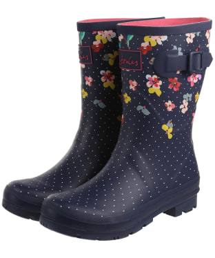 Women's Joules Molly Mid Height Wellies - Navy Blossom