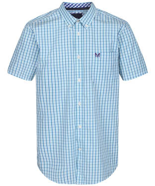 Men's Crew Clothing SS Tattersall Shirt - Spirit Blue / Aqua