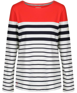 Women's Joules Harbour Long Sleeve Top - Cream / Navy / Red