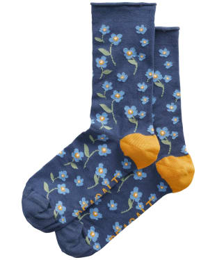 Women's Seasalt Bamboo Arty Socks - Forget-Me-Not Wild Pansy