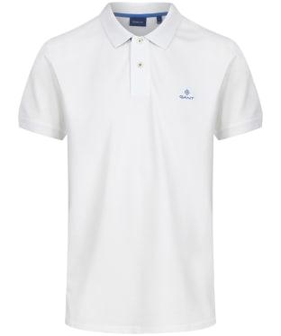 Men's GANT Contrast Collar Short Sleeve Rugger Shirt - Eggshell