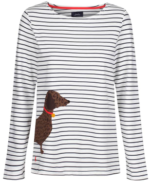 Women's Joules Harbour Print Top - Cream Dog Stripe