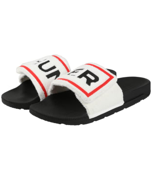 Women's Hunter Original Terry Logo Sliders - White / Black
