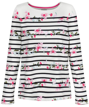 Women's Joules Harbour Print Top - Cream Floral Stripe