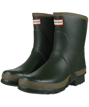 Men's Hunter Gardener Short Wellies - Dark Olive / Clay