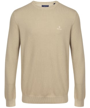Men's GANT Cotton Pique Crew Neck Sweater - Dry Sand
