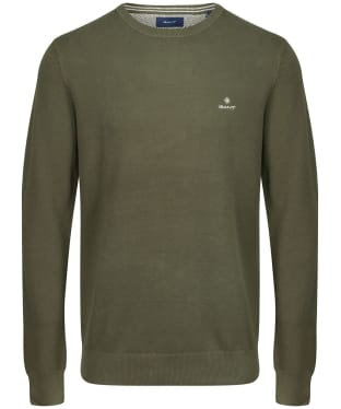 Men's GANT Cotton Pique Crew Neck Sweater - Dark Leaf