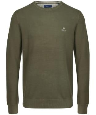 Men's GANT Cotton Pique Crew Neck Sweater - Dark Leaf