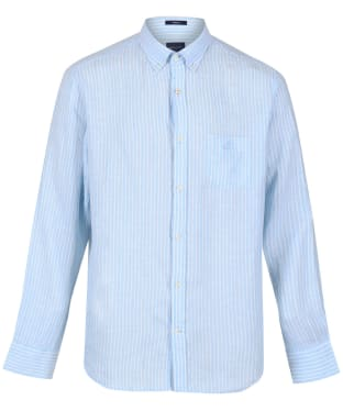 Men's GANT Regular Fit Stripe Linen Shirt - Capri Blue