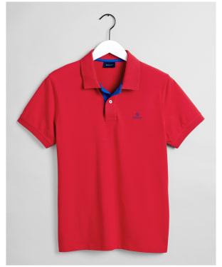 Men's GANT Contrast Collar Short Sleeve Rugger Shirt - Bright Red