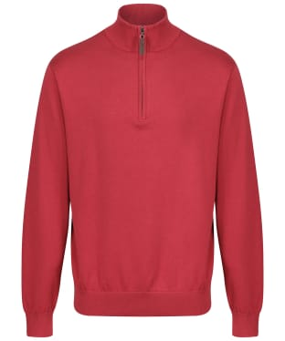 Men's Schoffel Pima Cotton 1/4 Zip Jumper - Cherry