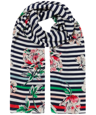 Women's Joules Conway Scarf - Blue Stripe Floral
