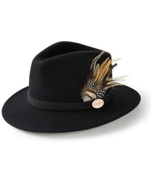 Women's Hicks & Brown The Suffolk Fedora - Guinea and Pheasant Feather - Black