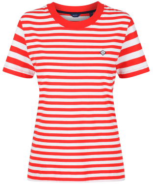 Women's GANT Striped T-Shirt - Lava Red
