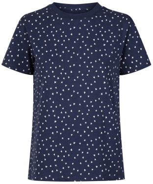 Women's Crew Clothing Scattered Heart Tee - Navy Cloud