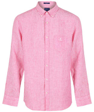 Men's GANT Regular Fit Stripe Linen Shirt - CABARET PINK