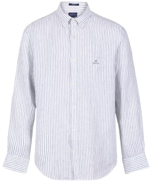 Men's GANT Regular Fit Stripe Linen Shirt - White