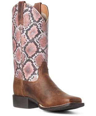 Women's Ariat Round Up Square Toe Boots - Tan Bomber / Pink Snake