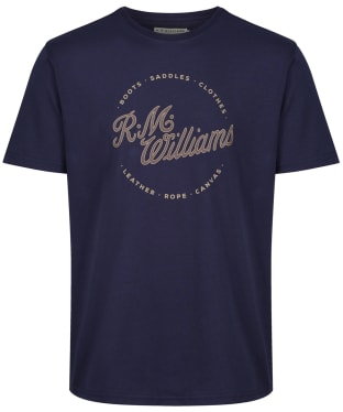 Men's R.M. Williams Script Stamp Tee - Navy / Brown