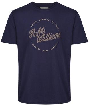 Men's R.M. Williams Script Stamp Tee - Navy / Brown