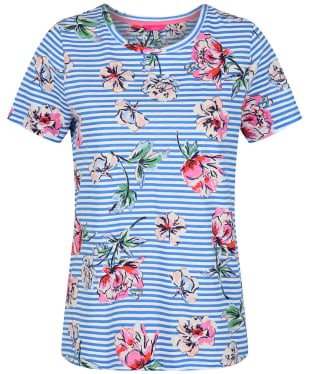Women's Joules Carley Print T-Shirt - Blue Floral Stripe