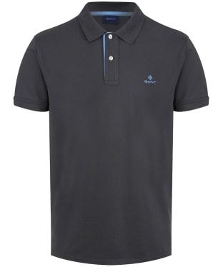 Men's GANT Contrast Collar Short Sleeve Rugger Shirt - Dark Graphite
