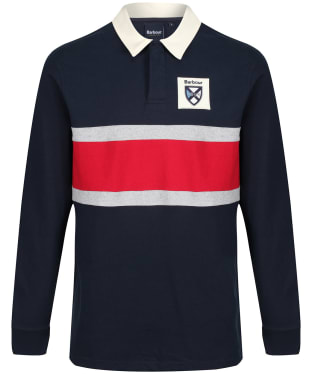 Men's Barbour Crest Contrast Panel Rugby Shirt - Navy