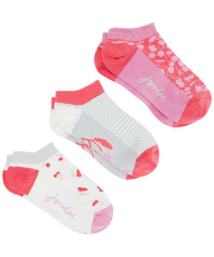 Women's Joules Rilla Trainer Socks – 3 Pack - Pink Cherry