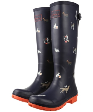 Women's Joules Printed Adjustable Wellies - Navy Beach Dogs