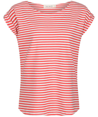Women's Lily & Me Surfside Tee - Papaya Stripe