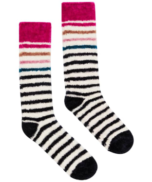 Women's Joules Chenille Socks - Cream Multi Stripe
