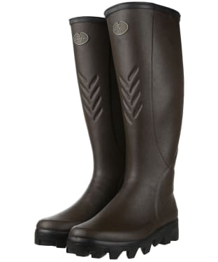 Men's Le Chameau Ceres Jersey Lined Wellingtons - Marron Fonce