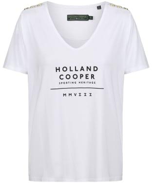 Women's Holland Cooper Serif Vee Tee - Optic White