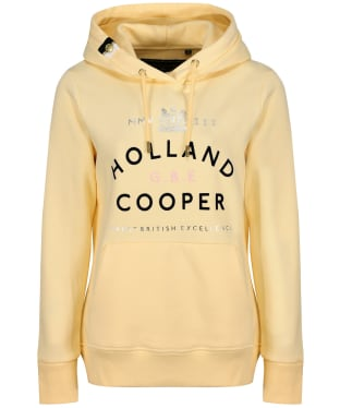 Women's Holland Cooper GBE Flock Logo Hoodie - Lemon