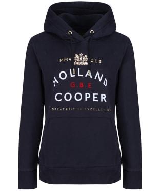 Women's Holland Cooper GBE Flock Logo Hoodie - Ink Navy