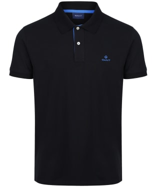 Men's GANT Contrast Collar Short Sleeve Rugger Shirt - Black