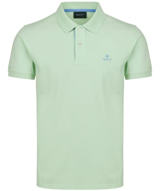 Men's GANT Contrast Collar Short Sleeve Rugger Shirt - Pastel Green