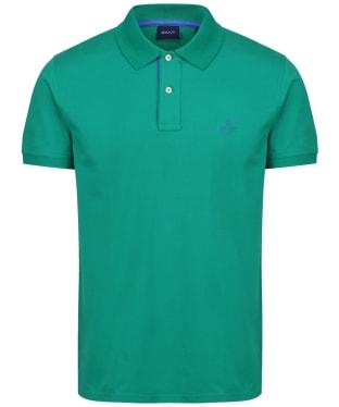 Men's GANT Contrast Collar Short Sleeve Rugger Shirt - Lush Green