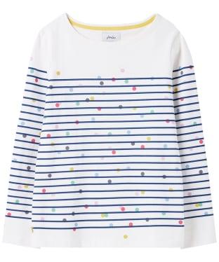 Women's Joules Harbour Print Top - Cream / Blue Spot Stripe