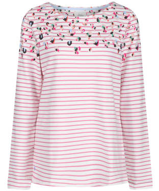 Women's Joules Harbour Print Top - Cream / Pink Print