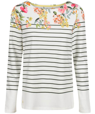 Women's Joules Harbour Print Top - Cream / Green Stripe Floral