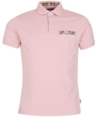 Men's Barbour Tartan Pocket Polo Shirt - Faded Pink