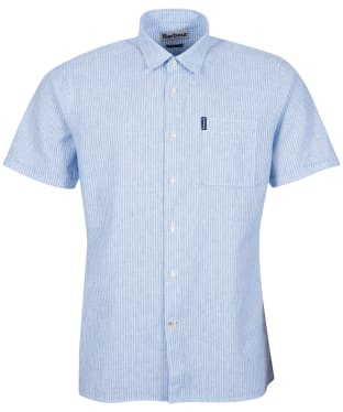 Men's Barbour Linen Mix 10 S/S Tailored Shirt - Blue Stripe