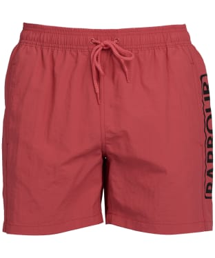 Men's Barbour International Large Logo Swim Shorts - Root Red