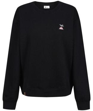 Women's Tentree Palm Sunset Embroidery Crew Sweater - Meteorite Black
