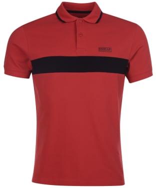 Men's Barbour International Block Stripe Polo Shirt - Root Red