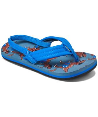 Boy's Reef Ahi Flip Flops - Littles - Blue T-Rex
