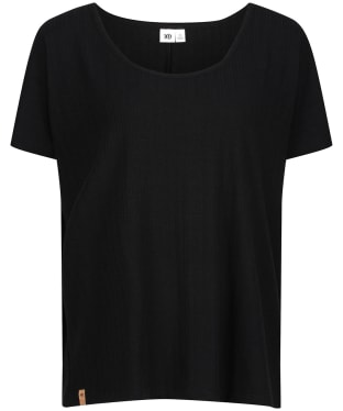 Women's Tentree Ribbed Scoop Neck T-Shirt - Meteorite Black