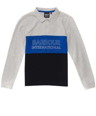 Boy's Barbour International Bold L/S Polo Shirt - 10-14yrs - Grey Marl